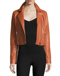 Elizabeth And James Gigi Cropped Leather Jacket Cinnamon