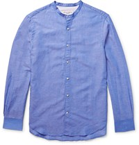 Officine Generale Slim Fit Grandad Collar Cotton And Linen Blend Shirt Blue