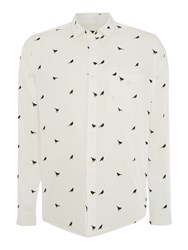 Only And Sons Bird Print Long Sleeve Shirt White