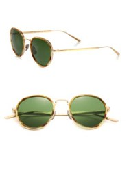 Bottega Veneta 49Mm Round Titanium Sunglasses Gold Green