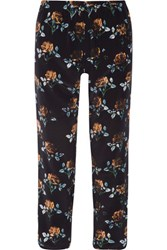 Thakoon Addition Floral Print Silk Crepe Tapered Pants Midnight Blue