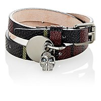 Alexander Mcqueen Men's Tartan Print Leather And Skull Charm Double Wrap Bracelet Burgundy