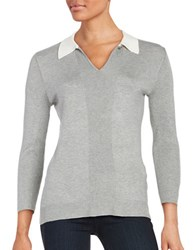Karl Lagerfeld Collared Knit Sweater Heather Granite