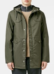 Topman Olive Bonded Cotton Parka Green