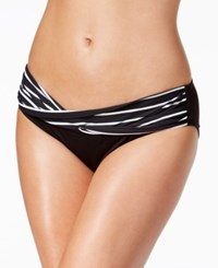 Coco Reef Serenity Stripe Banded Hipster Bikini Bottoms Women's Swimsuit Castaway Black