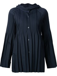 Issey Miyake Pleats Please By Hooded Pleated Jacket Blue