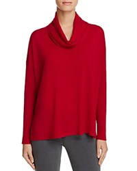 Eileen Fisher Petites Cowl Neck High Low Merino Sweater China Red