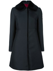 Moncler Gamme Rouge Collar Detail Fitted Coat Black