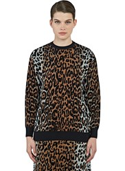 Stella Mccartney Leopard Intarsia Knit Sweater Brown