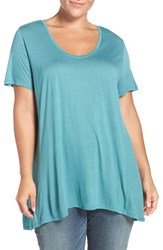 Sejour Plus Size Women's Scoop Neck Swing Tee Teal Britt