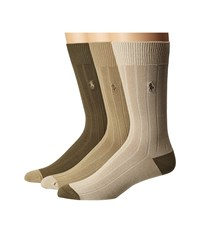 Polo Ralph Lauren 3 Pack Rib Crew With Contrast Heel Toe And Player Embroidery Khaki Assorted Dark Almond Soft Olive Taylor Beige Men's Crew Cut Socks Shoes Multi