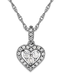 Macy's Diamond Heart Halo Pendant Necklace In 14K White Gold 1 6 Ct. T.W.