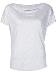 Majestic Filatures Draped Neck T Shirt Grey