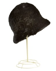 Surell Mink Fur Cloche Hat Black