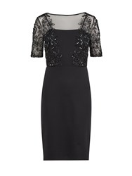 Gina Bacconi Ponti Dress With Beaded Front Bodice Black