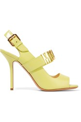 Moschino Embellished Leather Sandals Yellow