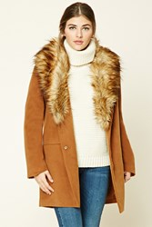 Forever 21 Faux Fur Trim Overcoat Chestnut