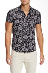 The Kooples Woven Short Sleeve Fitted Shirt Black