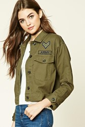 Forever 21 Boxy Army Patch Jacket Olive
