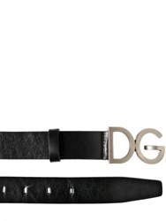 Dolce And Gabbana 30Mm Logo Buckle Leather Belt