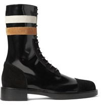 Raf Simons Suede Trimmed Patent Leather Boots Black