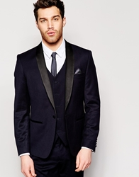 French Connection Slim Fit Tuxedo Suit Jacket Navy