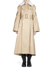 Sacai Fur Collar Cotton Trench Coat Beige