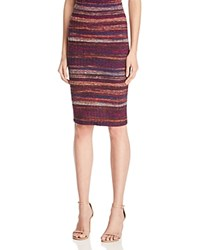 Aqua Striped Ribbed Knit Pencil Skirt Purple Multi
