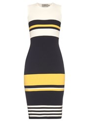 Preen Tana Intarsia Knit Midi Dress Navy Multi