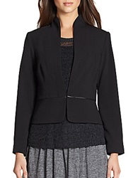 Eileen Fisher Leather Trimmed Peplum Jacket Black