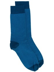 John Smedley Striped Socks Blue