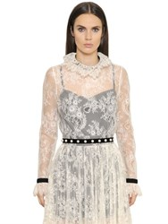 Philosophy Di Lorenzo Serafini Ruffled Lace Top With Velvet Trim
