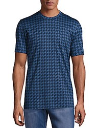 Brioni Houndstooth Cotton Tee Blue