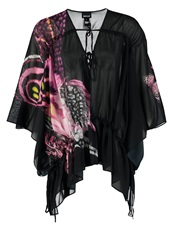 Just Cavalli Tunic Schwarz Lila Rosa Black