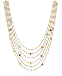 Charter Club Gold Tone 6 Row Beaded Station Necklace Only At Macy's Gold Multi