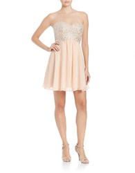 Decode 1.8 Embellished Bodice Strapless Dress Apricot