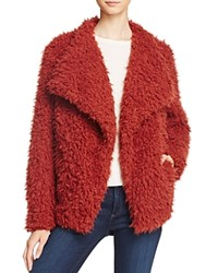 Vero Moda Jayla Shaggy Faux Fur Coat Burnt Red
