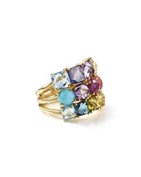 Ippolita 18K Rock Candy Mixed Stone Cluster Ring In Summer Rainbow Size 7 Gold