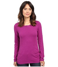 Mod O Doc Slub Jersey Long Sleeve Twisted Scoopneck Tee Dark Fuschia Women's T Shirt Purple