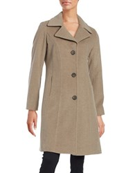 Anne Klein Wool And Cashmere Blend Walker Coat Taupe