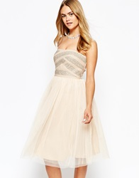 River Island Strapless Embellished Tulle Prom Dress Nude