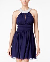 Speechless Juniors' Embellished Halter Fit And Flare Dress Navy