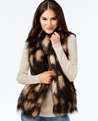 Inc International Concepts Petite Mixed Faux Fur Vest Only At Macy's Brown Black