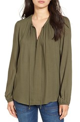 Wayf Women's 'Townsend' Long Sleeve Peasant Top Olive