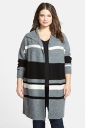 Caslon Stripe Sweater Coat Plus Size Gray