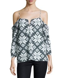 Nicole Miller Printed Chiffon Cold Shoulder Blouse Gray White