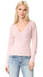 Tome Long Sleeve Crossover Sweater Blush