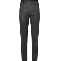 Boglioli Slim Fit Herringbone Wool And Cotton Blend Trousers Gray