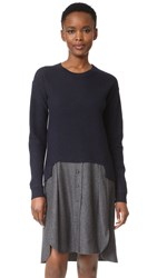 Carven Sweater Combo Dress Marine