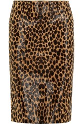 Ronald Van Der Kemp Leopard Print Calf Hair Pencil Skirt Leopard Print Brown